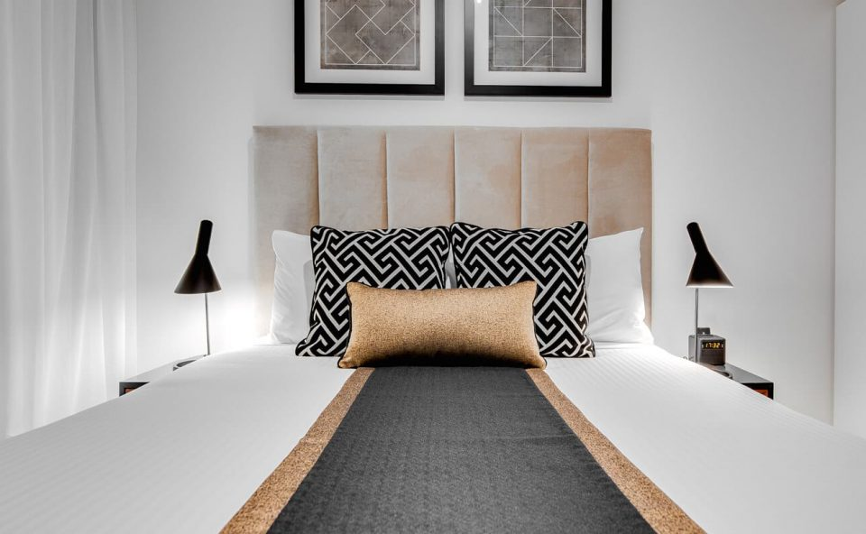 one-bedroom-executive-bed-closeup | Alex Perry Hotel & Apartments