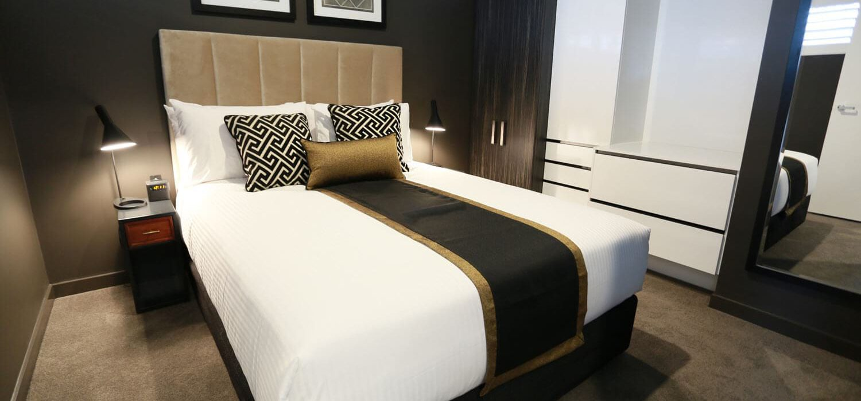 studio-apartment-bedroom-corner | Alex Perry Hotel & Apartments